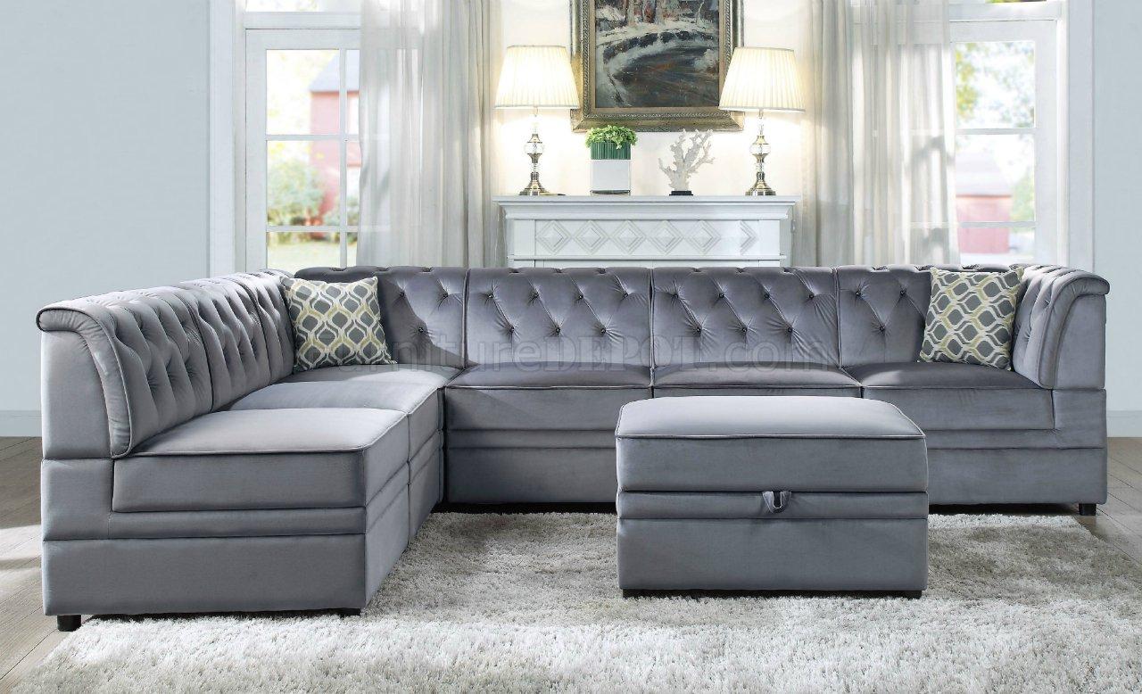 modular sofa set long island bois ii sectional 7pc 53305 gray velvet