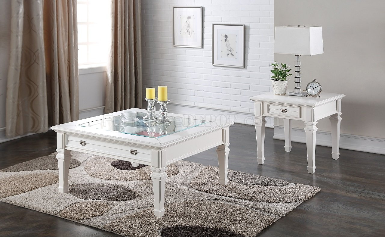 Adalyn 80530 3Pc Coffee Table Set in White by Acme