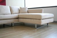Contemporary Sectional Sofa in Off White Microfiber