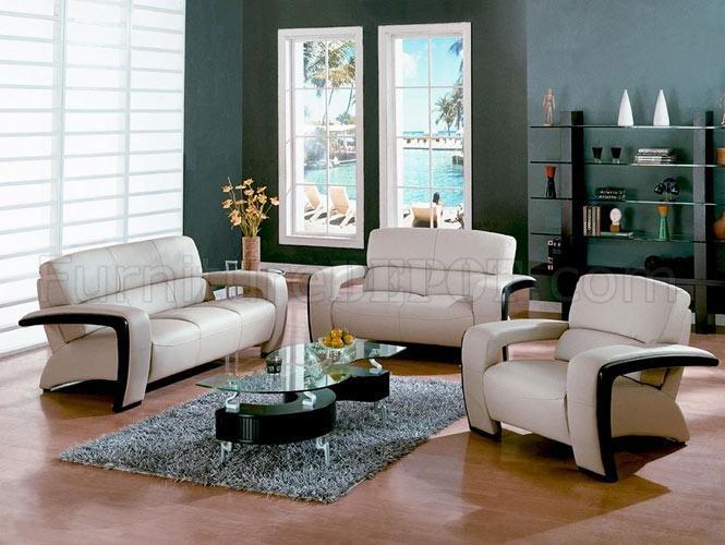 Sydney DM1004 Beige Leather Living Room Set wEspresso