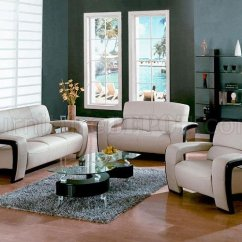 Modern Leather Living Room Set Lime Green Pictures Sydney Dm 1004 Beige W Espresso Wood Trim 3pc