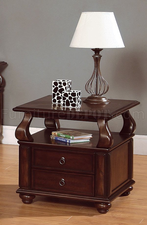 Rich Brown Cherry Finish Cocktail Table wDrawer Storage