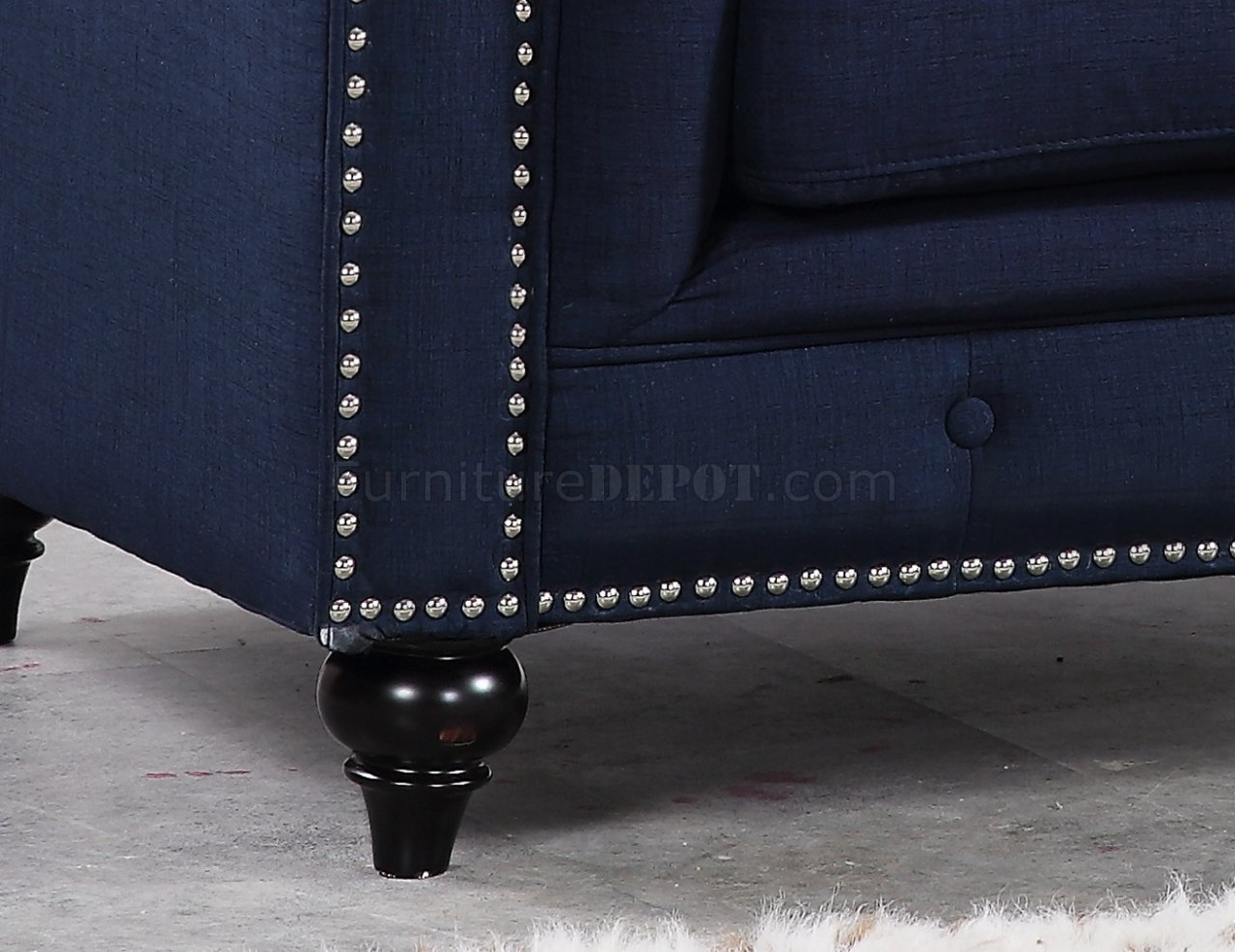 navy leather chesterfield sofa oval gl table 662 in linen fabric w optional items