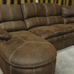 Baseball Leather Sofa Convertible Bed Rustic Brown Microfiber Reclining Sectional W