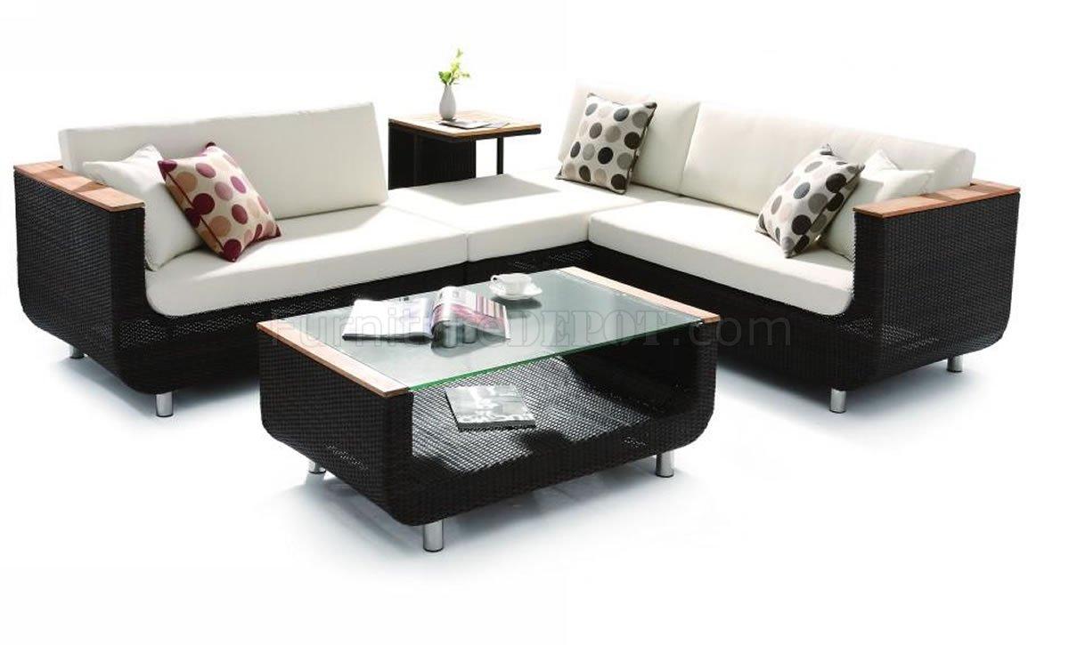 black modern patio sectional sofa w