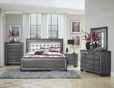 Allura Bedroom 1916GY in Dark Gray by Homelegance wOptions