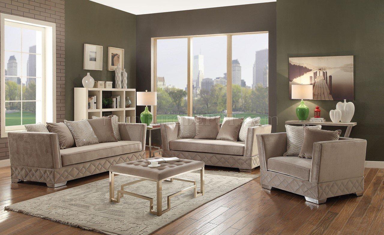 velvet sectional sofa living room sofas tamara fabric 54265 in beige by acme w/options