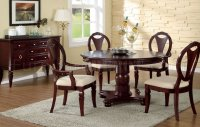 Deep Cherry Traditional Round Dinette Table w/Optional Chairs
