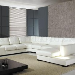 T35 Mini Modern White Leather Sectional Sofa Brown And Cream Cord Corner Bonded Or Half W Side Light