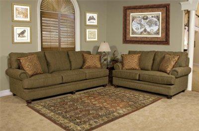 Olive Fabric Modern Loveseat  Sofa Set wOptional Items