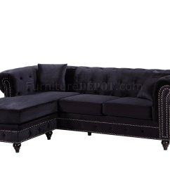 Black Leather Sofa With Nailheads Sectional Couches Sabrina 667 In Velvet Fabric By Meridian