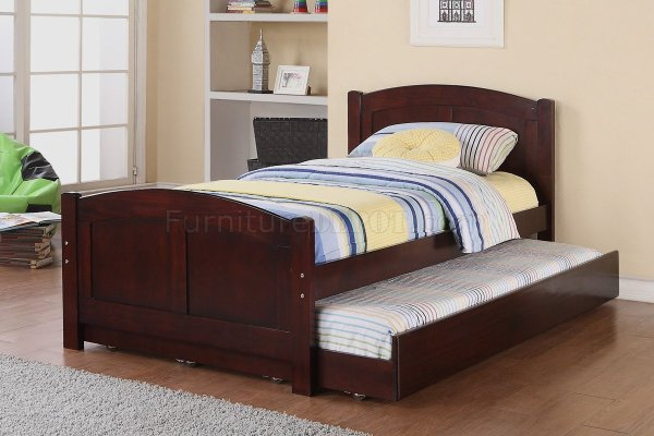 F9217 Kids Bedroom 3pc Set Poundex In Cherry Withtrundle Bed