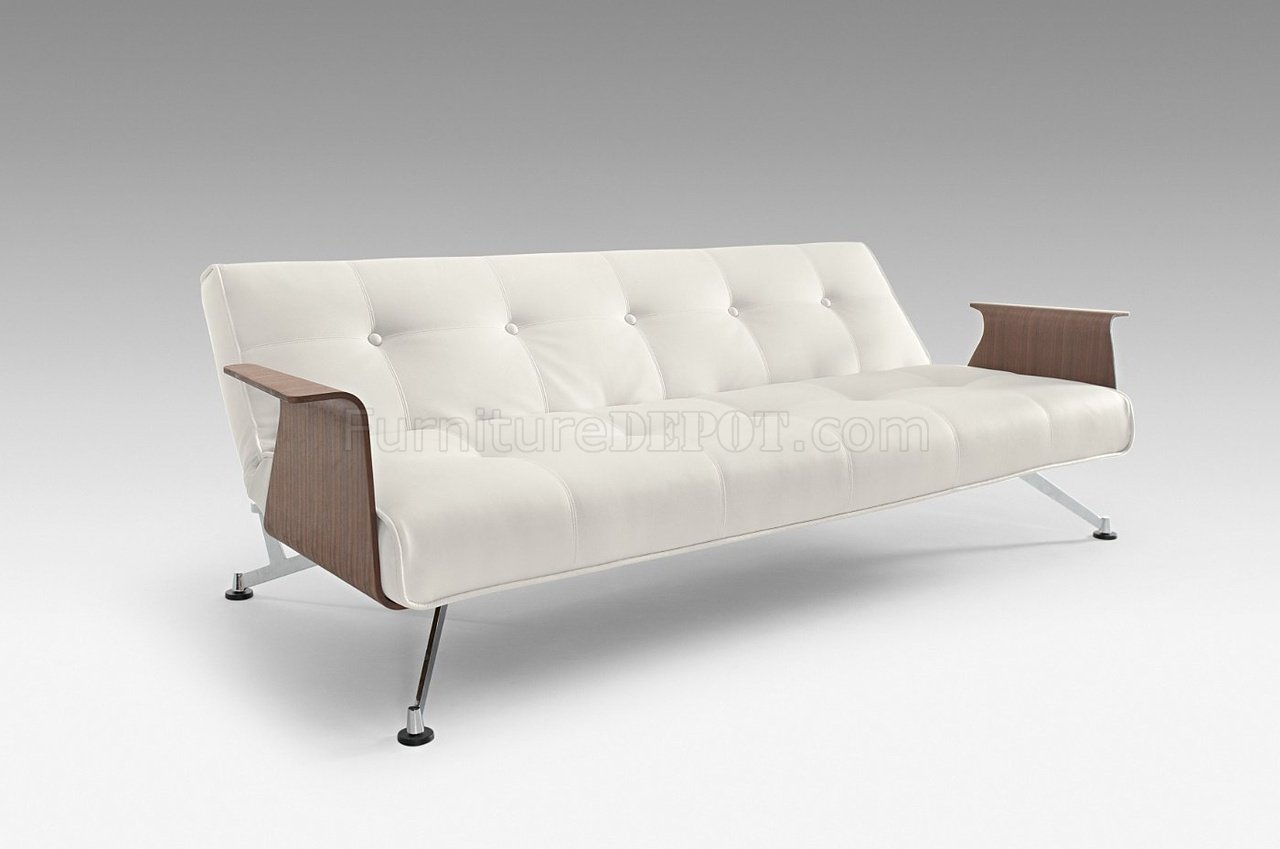 clubber sofa bed short score white full leatherette modern convertible w