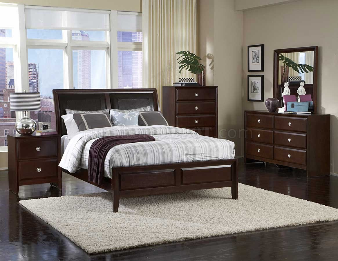 Dark Cherry Finish Contemporary Bedroom wOptional Items
