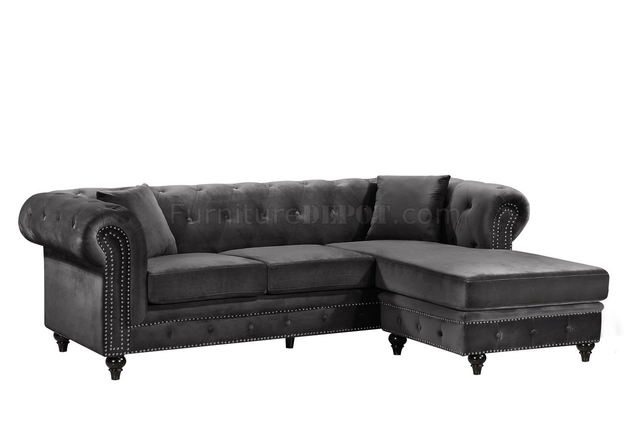 sabrina sofa modern leather convertible sectional 667 in grey velvet fabric by meridian