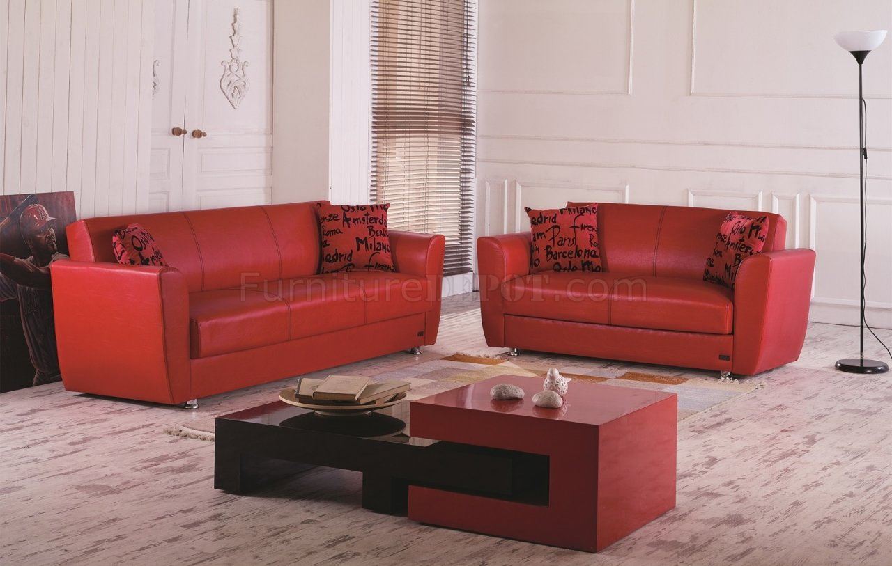 sofa bed dallas casero de madera in red leatherette w optional loveseat