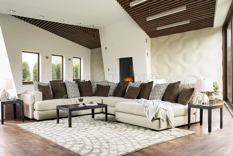 modern fabric sofa set primitive table giuliana sectional sm5180 in cream & brown w/options
