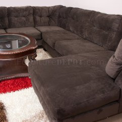 Sofa Chaise Lounge Slipcover Value City Sectional Brown Suede Used With Throw Pillow ...