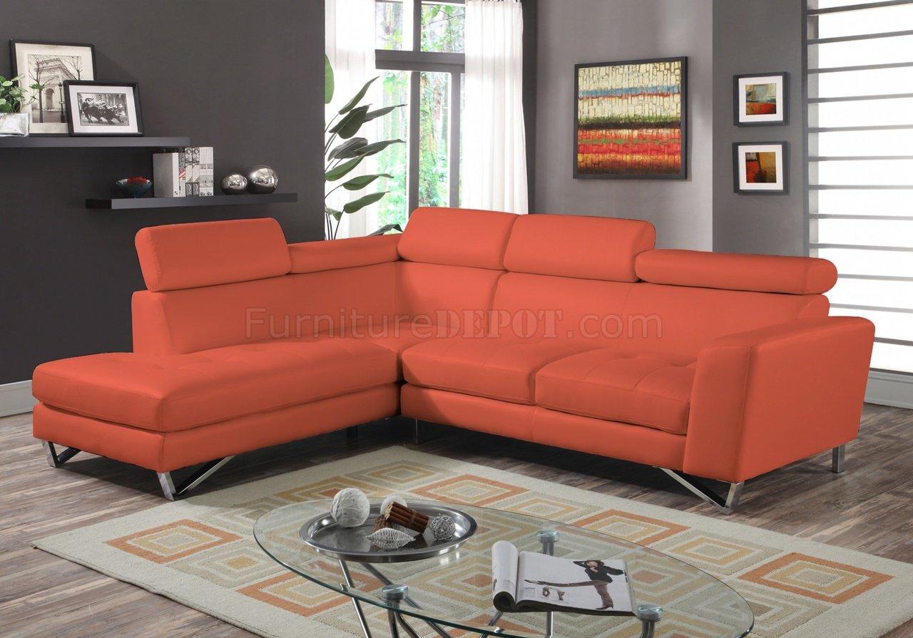 orange fabric sectional sofa chesterfield sofas usa 4026 in sateen microfiber