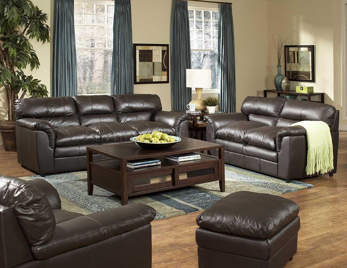 Dark Brown Full Leather Transitional Style Sofa Loveseat Set