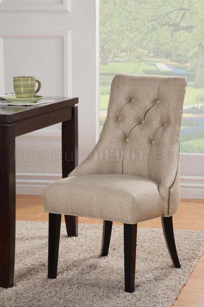 104033 Accent Chair Set of 2 in Sand Fabric by Coaster