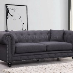 Gray Linen Chesterfield Sofa Sofas 662gry In Grey Fabric W Optional Items