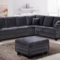 Gray Sofa Sectional Pottery Barn Charleston Dimensions Ferrara 655 In Grey Velvet Fabric W Options