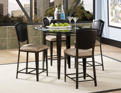 Black Metal  Glass Top Modern 5Pc Counter Height Dining Set