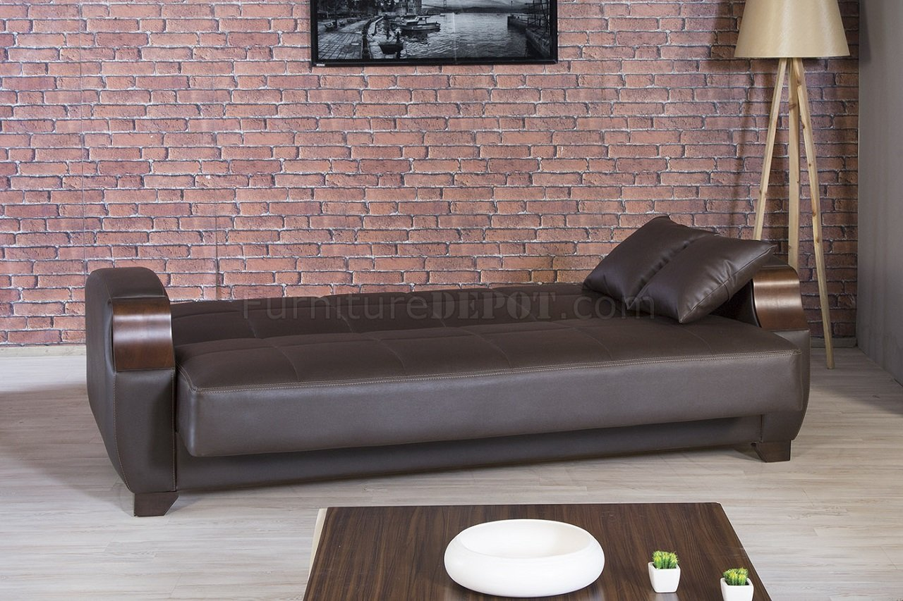 mckinley leather sofa costco dundee bed euro convertible brown