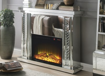 Nysa Fireplace 90254 in Mirror by Acme wAdjustable