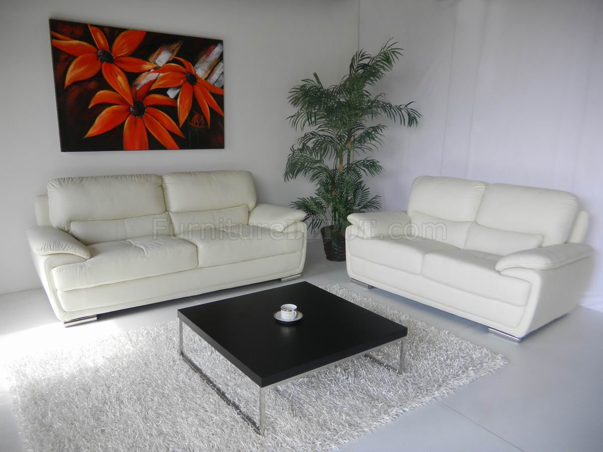 White Leather Modern Elegant Sofa  Loveseat Set wOptions