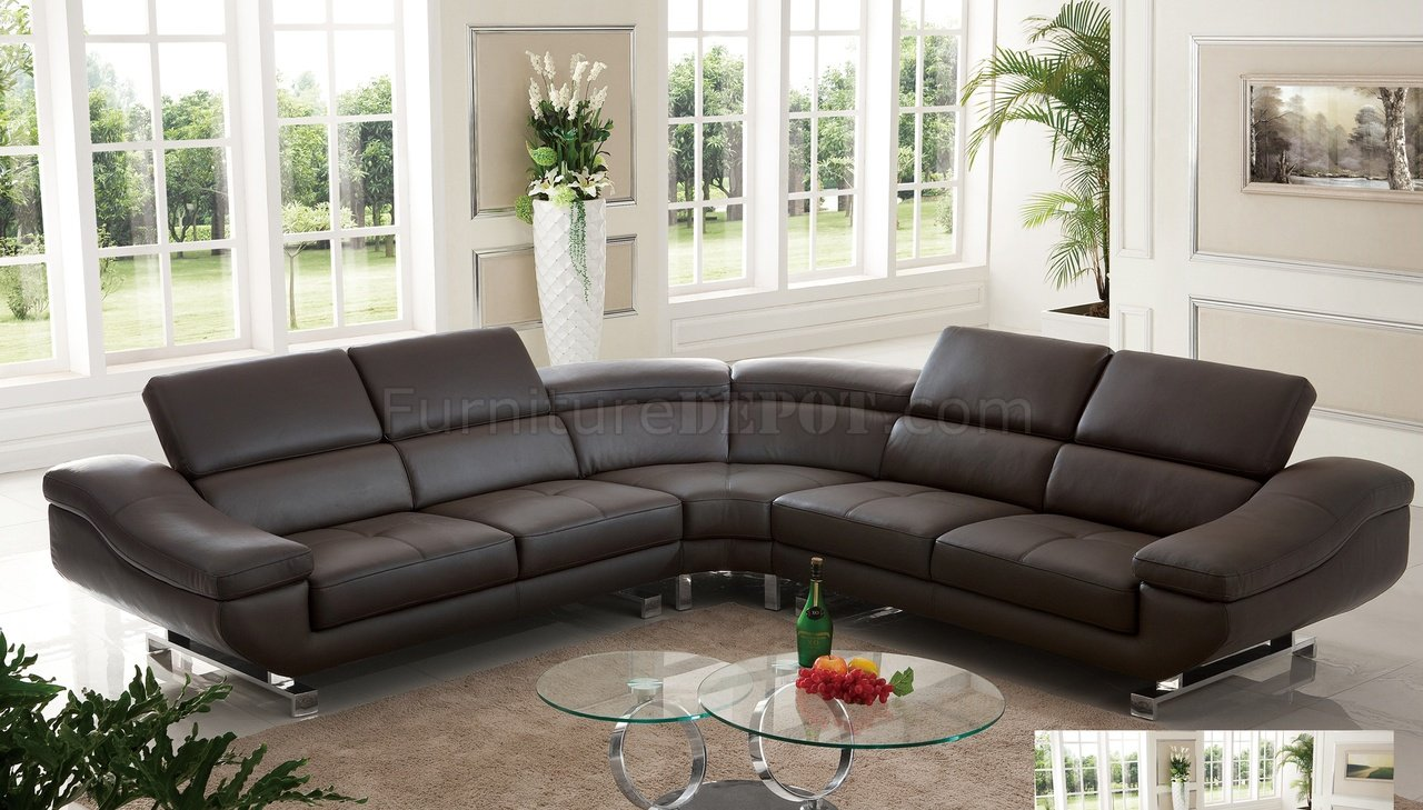 S805 Sectional Sofa In Chocolate Leather By Pantek