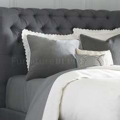 Grey Modern Sofa Bed Rv Jackknife Parts 150-br Upholstered Sleigh In Dark Gray Fabric By Liberty