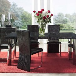Black Dining Room Chairs With Chrome Legs Plastic Chair Covers Eco Leather Modern Formal Table W