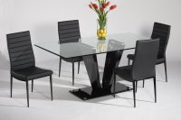 Glass Top & Black Gloss Base Dining Table w/Optional Chairs