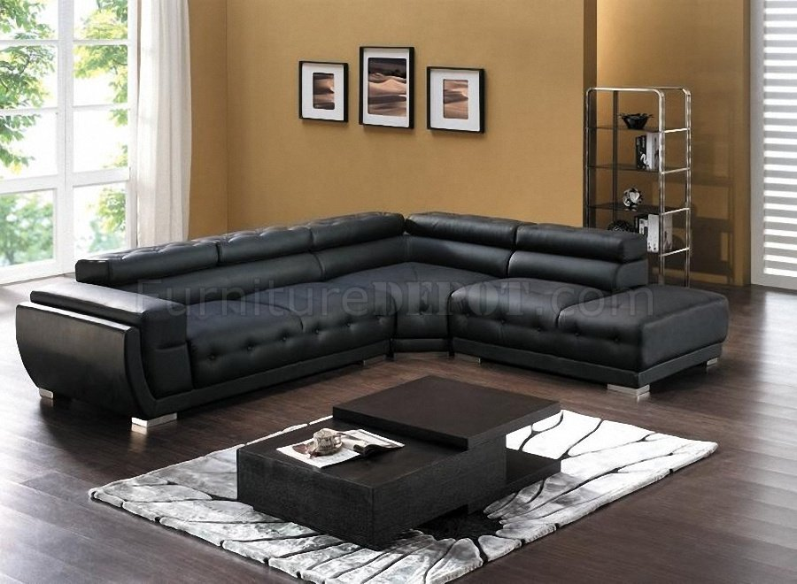 modern bonded leather sectional sofa with recliners lazy boy bed 8097 in black by american eagle