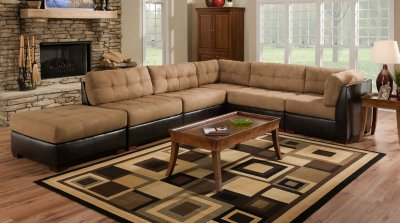 Camel Fabric Sectional Sofa wDark Brown Faux Leather Base