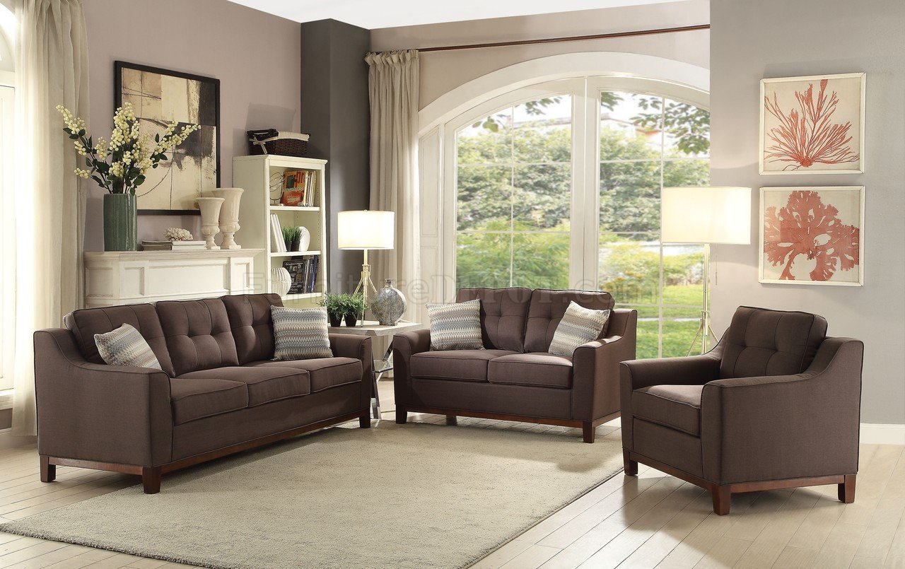 fabric sofa sets in nairobi disney princess flip open toys r us stellan 52840 brown linen by acme w options