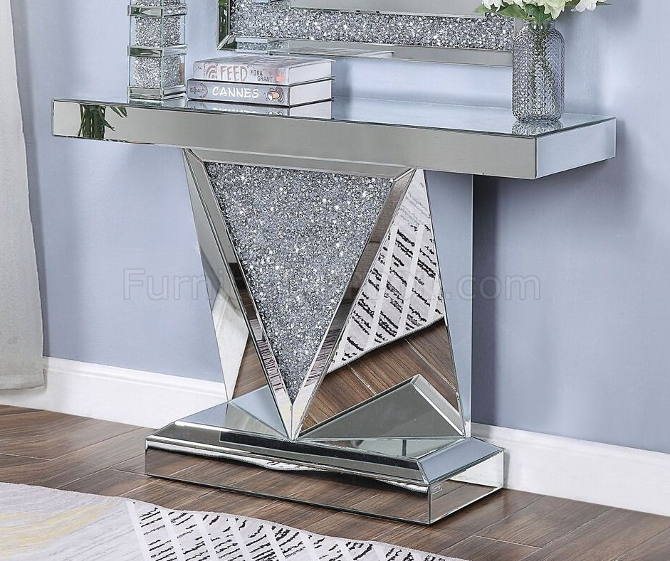 Noralie Console Table wMirror Set 90448 in Mirror by Acme