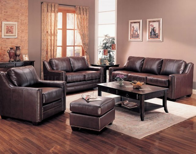 Brown Bonded Leather Contemporary Living Room Sofa w/Options