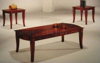 Cherry Finish Elegant Traditional 3Pc Coffee Table Set