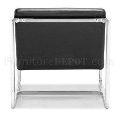 Chair Cba Steel Circle Bamboo Black Or White Leatherette Modern W/chrome Frame