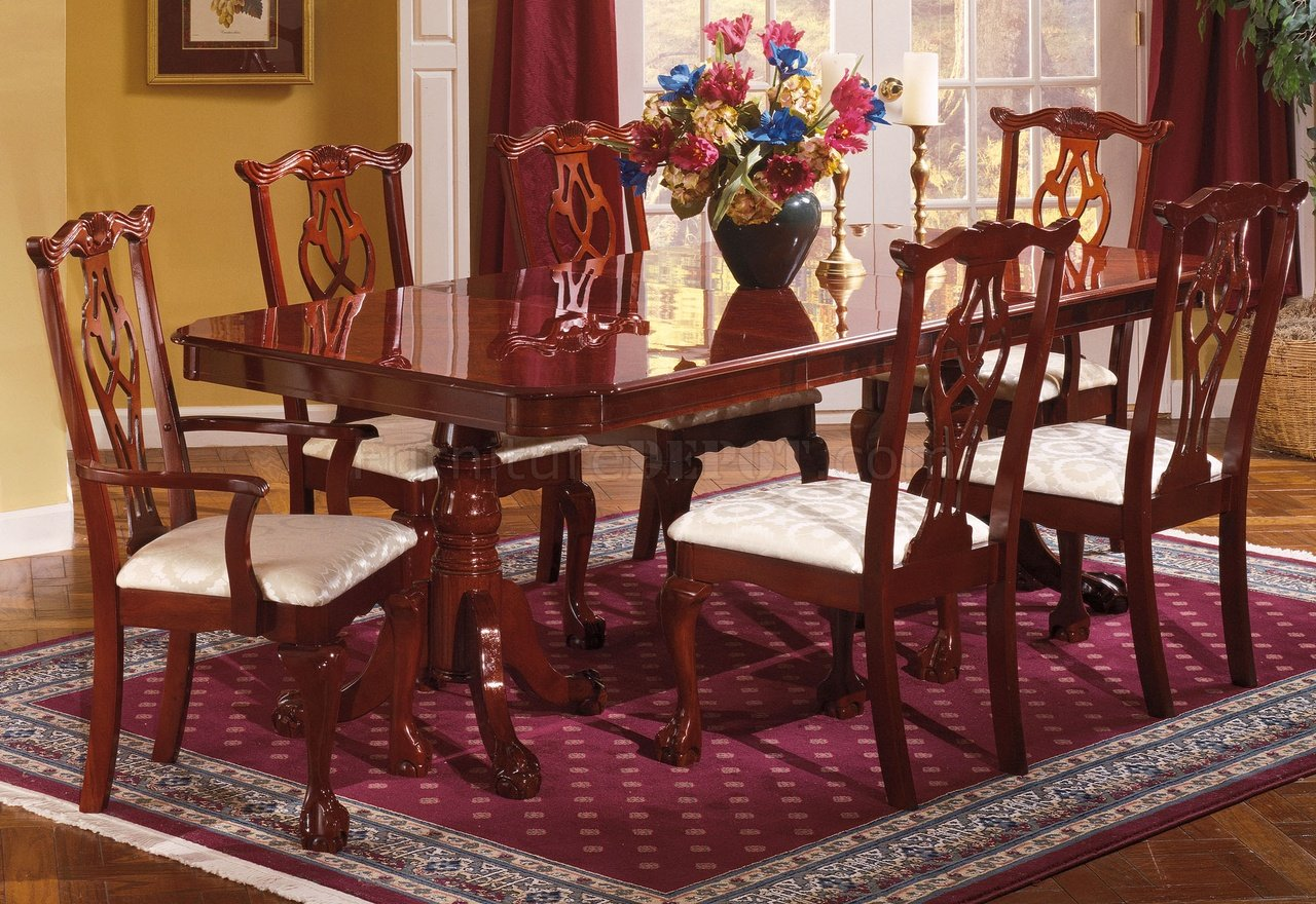 Cherry Finish Traditional Dining Room WPedestal Table