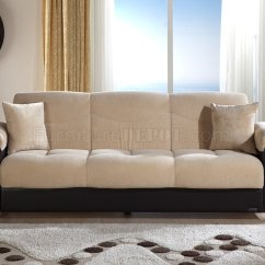 Cream Colored Microfiber Sofa On Wheels And Bonded Leather Base Bed W Storage