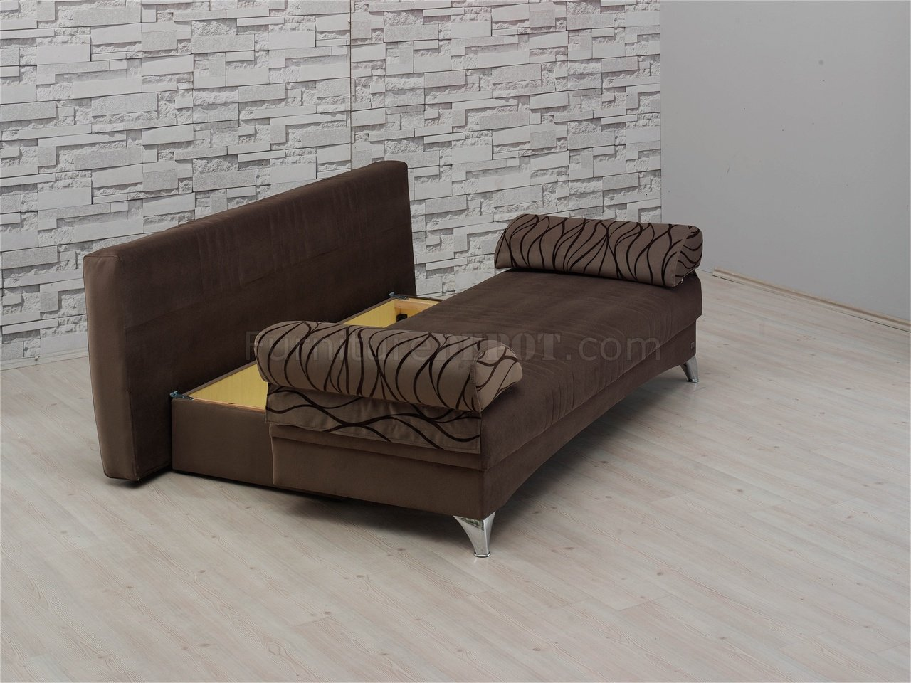 dark brown microfiber sofa lazy boy recliner daisy bed convertible in by empire