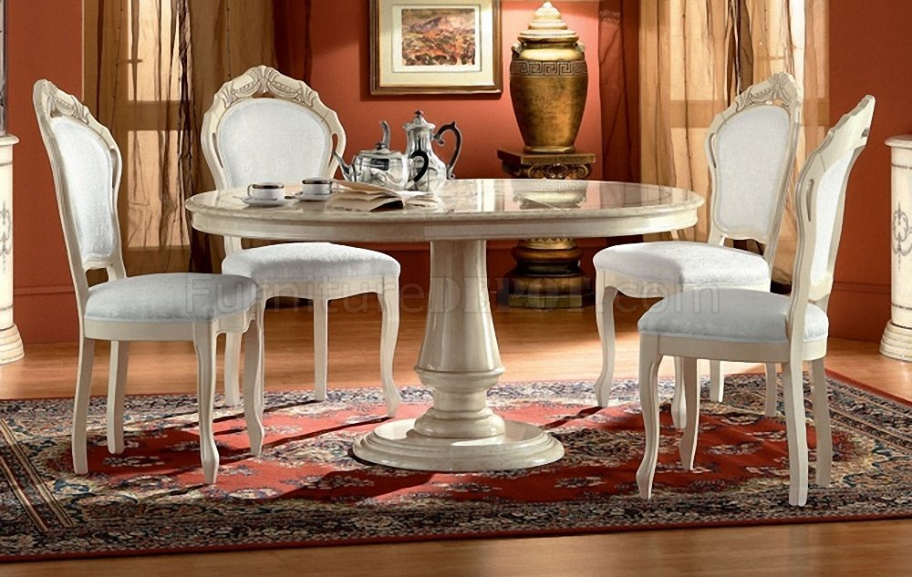 Rosella Ivory Lacquer Classic Dining Table by ESF wOptions
