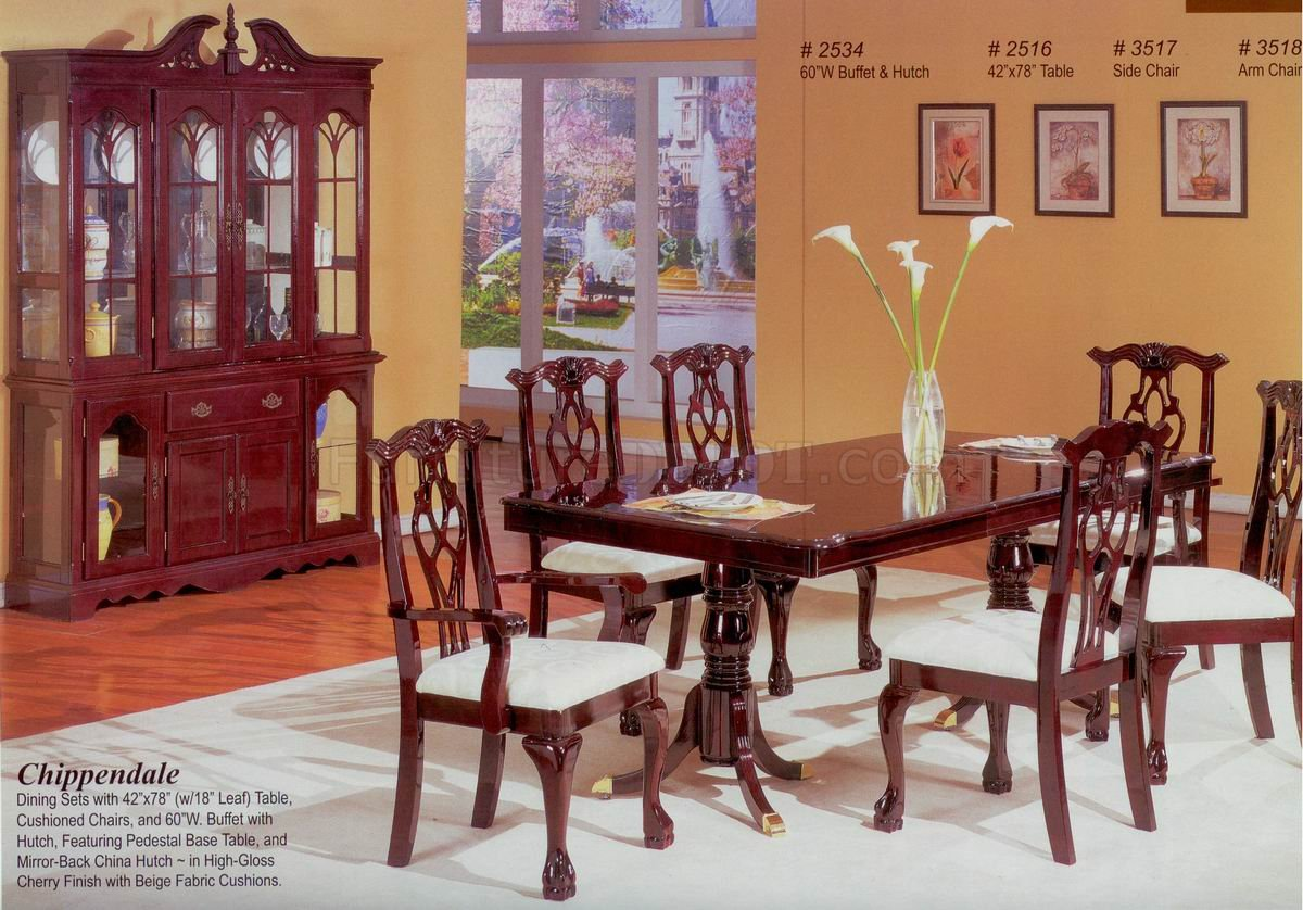 Cherry Finish Classic Formal Dining Room Table wOptions