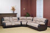 Beige Fabric Modern Reclining Sectional Sofa w/Optional Chair