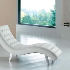 White Chaise Lounge Chair Alternative Office Chairs Red Brown Beige Or Black Vinyl Modern Lounger