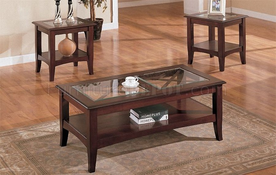 dark cherry stylish 3pc coffee table